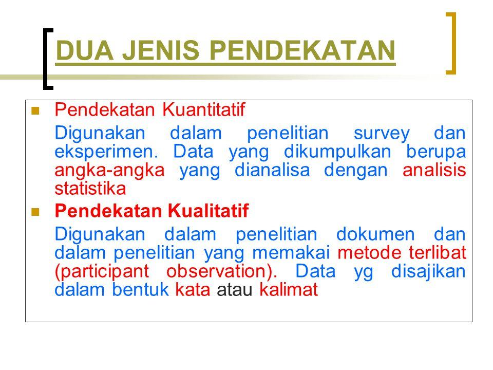 DUA JENIS PENDEKATAN Pendekatan Kuantitatif Digunakan dalam penelitian survey dan eksperimen.