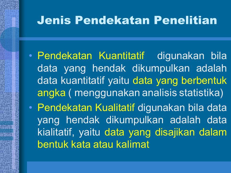 Jenis Pendekatan Penelitian Pendekatan Kuantitatif digunakan bila data yang hendak dikumpulkan adalah data kuantitatif yaitu data yang berbentuk angka ( menggunakan analisis statistika) Pendekatan Kualitatif digunakan bila data yang hendak dikumpulkan adalah data kialitatif, yaitu data yang disajikan dalam bentuk kata atau kalimat