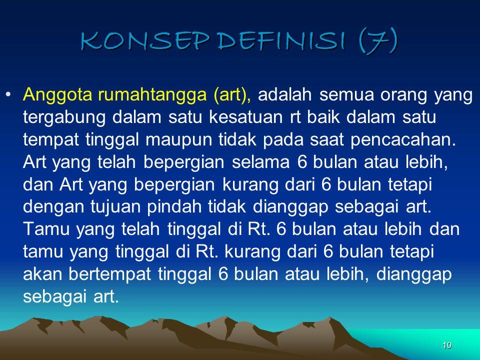 10 KONSEP DEFINISI (7) Anggota rumahtangga (art), adalah semua orang yang tergabung dalam satu kesatuan rt baik dalam satu tempat tinggal maupun tidak