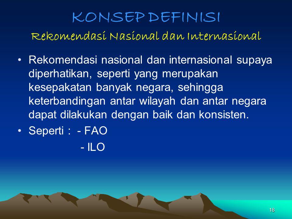 KONSEP DEFINISI Rekomendasi Nasional dan Internasional Rekomendasi nasional dan internasional supaya diperhatikan, seperti yang merupakan kesepakatan