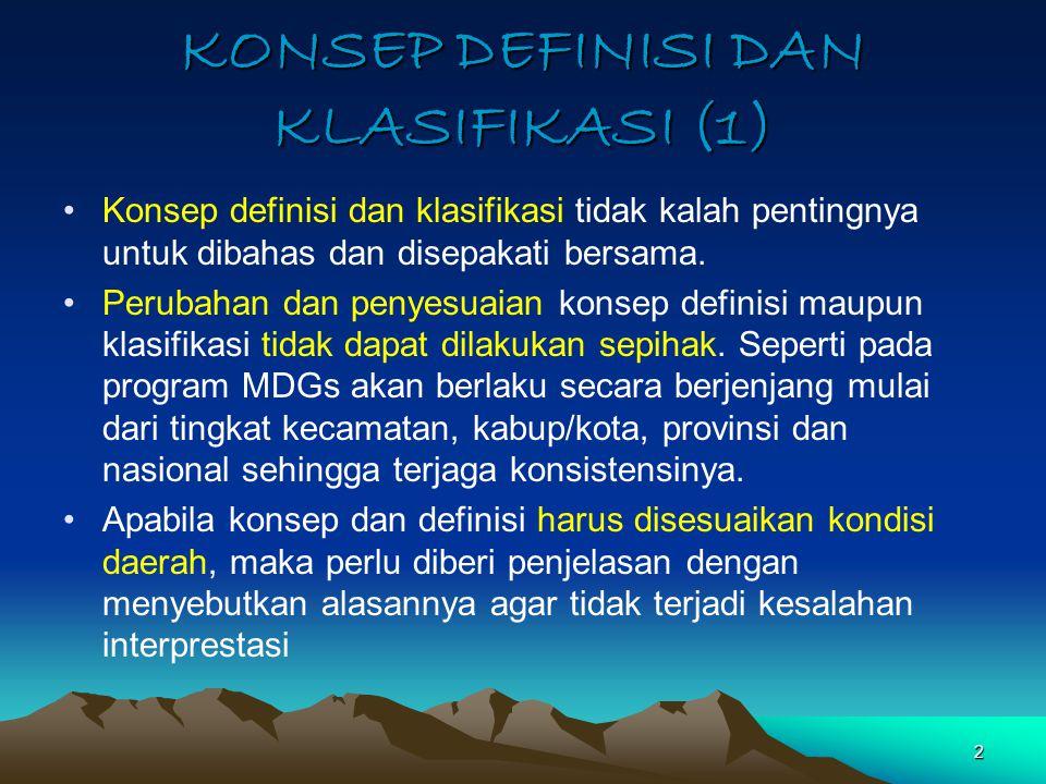 KONSEP DEFINISI DAN KLASIFIKASI (1) Konsep definisi dan klasifikasi tidak kalah pentingnya untuk dibahas dan disepakati bersama. Perubahan dan penyesu