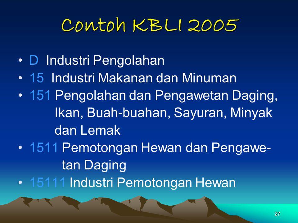 27 Contoh KBLI 2005 D Industri Pengolahan 15 Industri Makanan dan Minuman 151 Pengolahan dan Pengawetan Daging, Ikan, Buah-buahan, Sayuran, Minyak dan