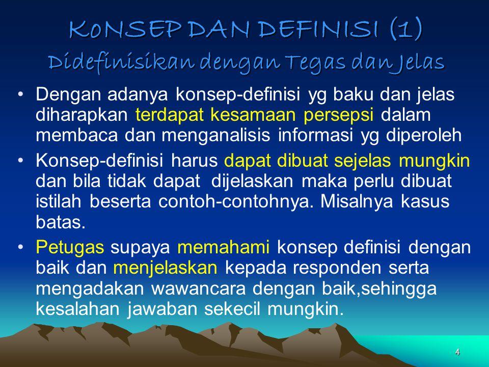 4 KoNSEP DAN DEFINISI (1) Didefinisikan dengan Tegas dan Jelas Dengan adanya konsep-definisi yg baku dan jelas diharapkan terdapat kesamaan persepsi d
