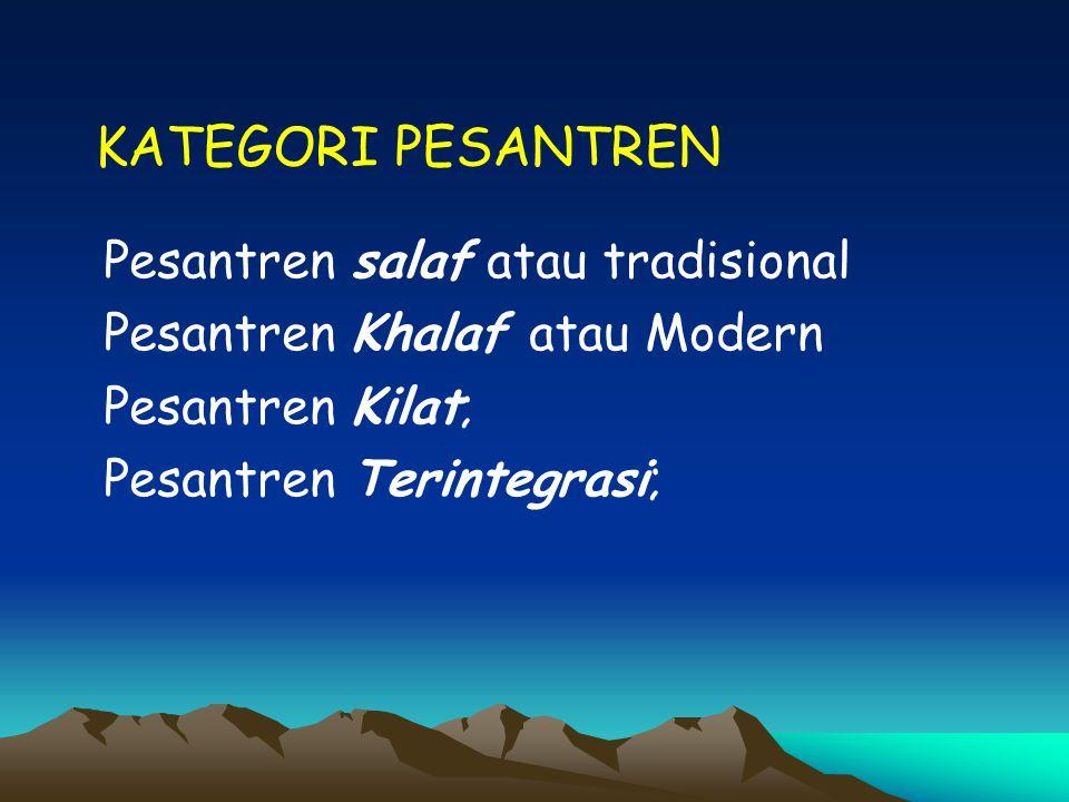 KATEGORI PESANTREN Pesantren salaf atau tradisional Pesantren Khalaf atau Modern Pesantren Kilat; Pesantren Terintegrasi;