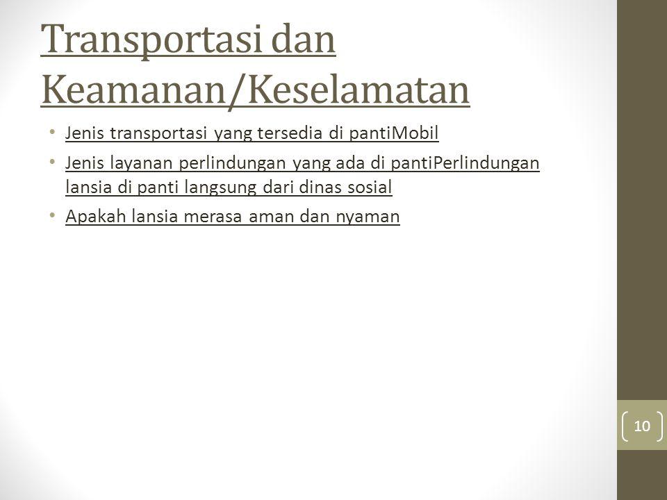 Transportasi dan Keamanan/Keselamatan Jenis transportasi yang tersedia di pantiMobil Jenis layanan perlindungan yang ada di pantiPerlindungan lansia d