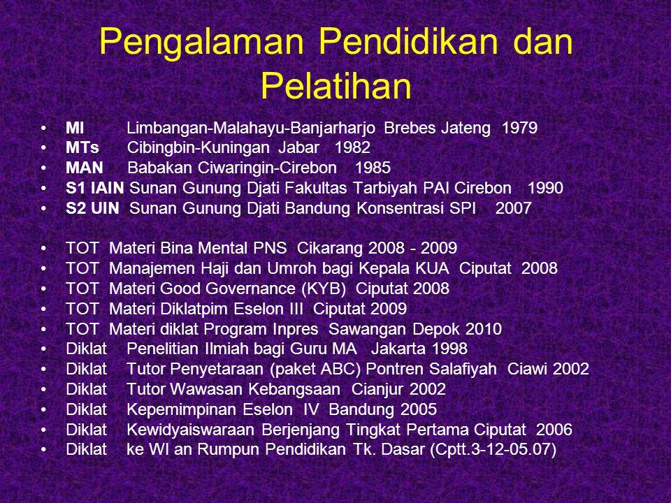 Pengalaman Pekerjaan & Jabatan Guru Privat (1988 – 1990) Kepala Madrasah Diniyah (1989-1990) Guru Madrasah Aliyah (1991-2003) Guru MTs (1992-1996) Guru SMA dan SMK (1998-2004) Kepala SMP Plus Pontren (1998-2004) Kepala SMA Plus Pontren (2007-2010) Kepala Seksi PEKAPONTREN (2004-2005) Kepala Seksi MAPENDA (Des.2005-Okt.2006) Dosen STAI Siliwangi (2003-2008) Dosen kualifikasi S1 bagi GPAI (2006-2007) Dosen STIT Cianjur (2007- sekarang) Dosen FAI UNSUR Cianjur (2008-2010) Pembantu Ketua III STIT Cianjur (2007- 2010) Widyaiswara Balai Diklat Keagamaan Bandung (Nop.2006 – sekarang)