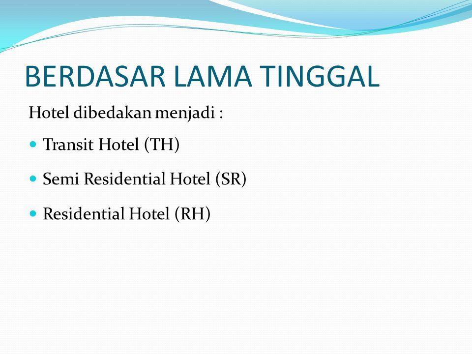 BERDASAR LOKASI Hotel dibedakan menjadi : City Hotel Resort Hotel Suburb Hotel Airport Hotel Hotel berdasarkan Area Urban Hotel