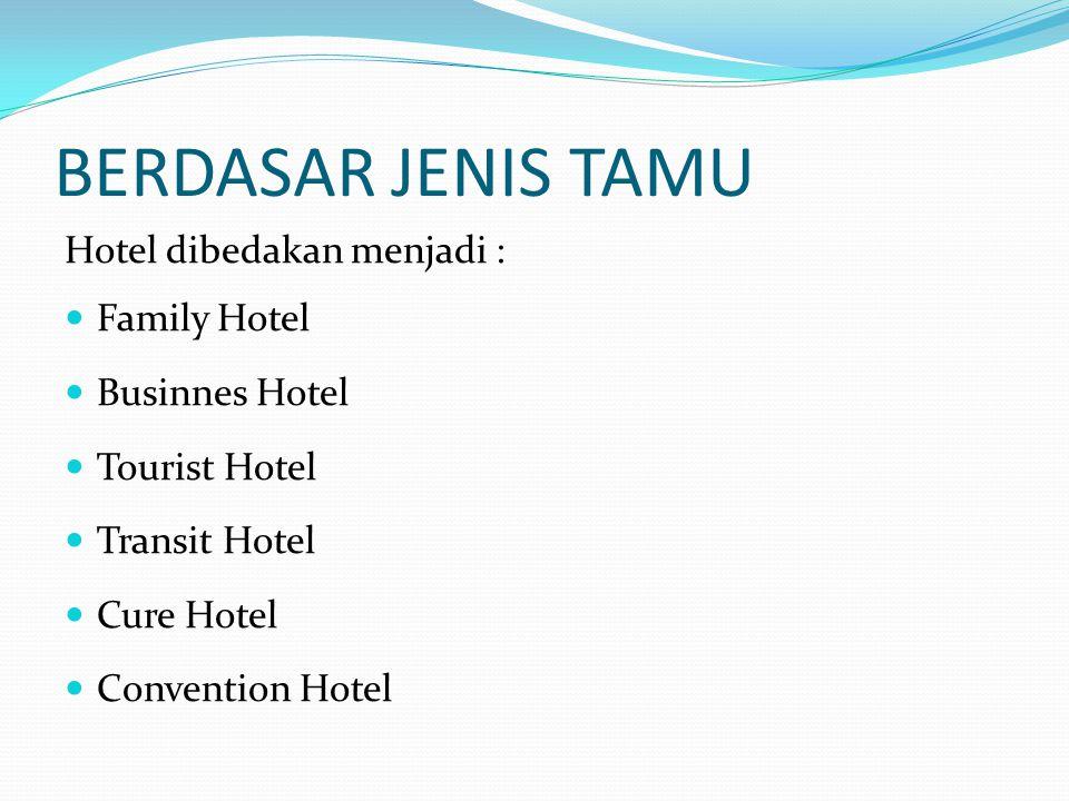 BERDASAR UKURAN & JUMLAH KAMAR Hotel dibedakan menjadi : Small Hotel (kapasitas kurang dari 150 kamar) Average Hotel (kapasitas sekitar 150-299 kamar) Above AverageHotel (hotel diatas rata-rata) kapasitas sekitar 300-600 kamar Large Hotel (kapasitas lebih dari 600 kamar)