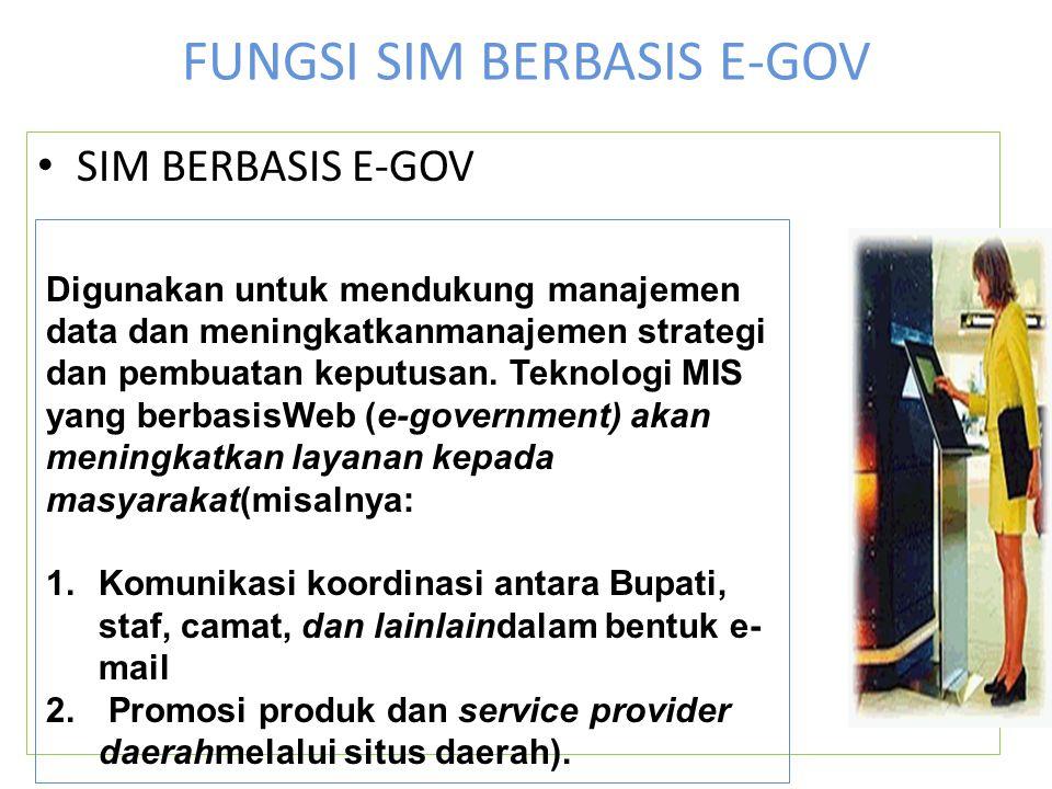 FUNGSI SIM BERBASIS E-GOV SIM BERBASIS E-GOV Digunakan untuk mendukung manajemen data dan meningkatkanmanajemen strategi dan pembuatan keputusan. Tekn