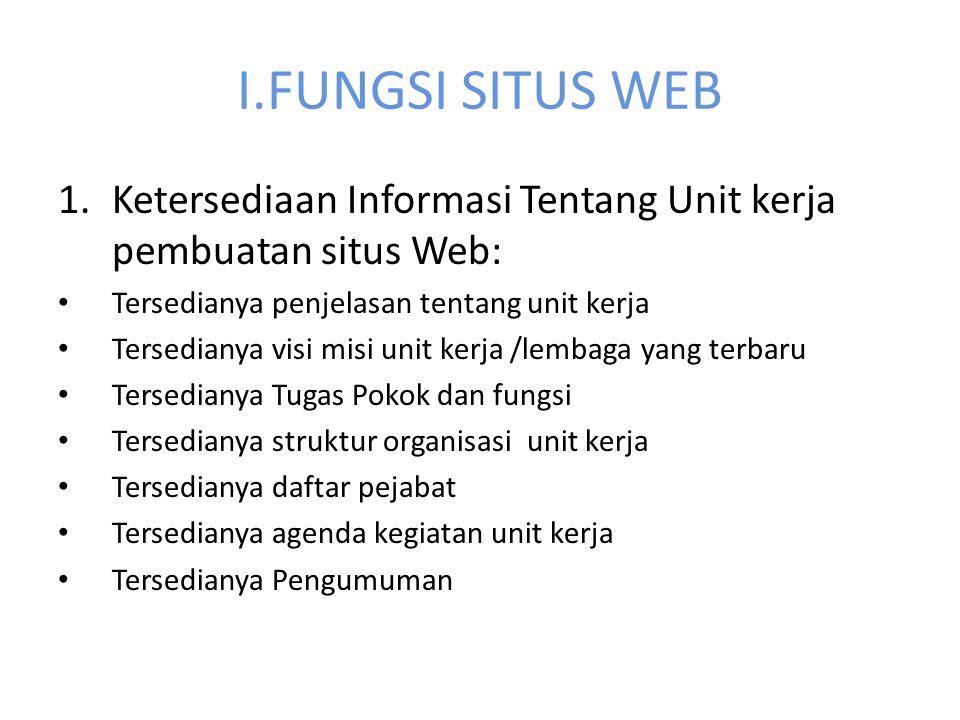 I.FUNGSI SITUS WEB 1.Ketersediaan Informasi Tentang Unit kerja pembuatan situs Web: Tersedianya penjelasan tentang unit kerja Tersedianya visi misi un