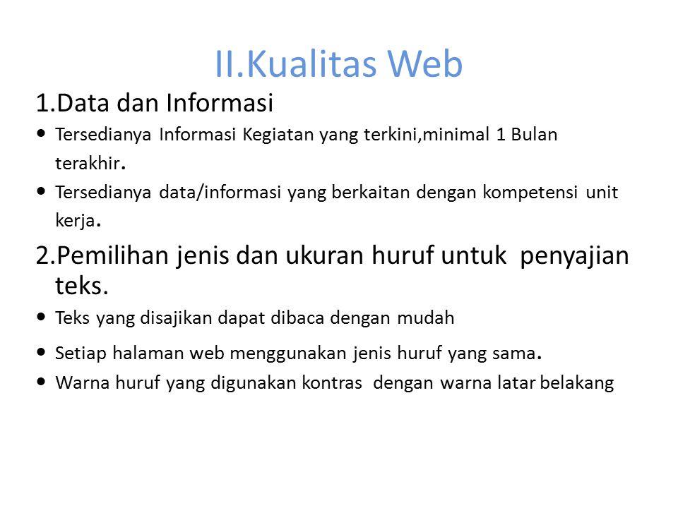II.Kualitas Web 1.Data dan Informasi Tersedianya Informasi Kegiatan yang terkini,minimal 1 Bulan terakhir. Tersedianya data/informasi yang berkaitan d