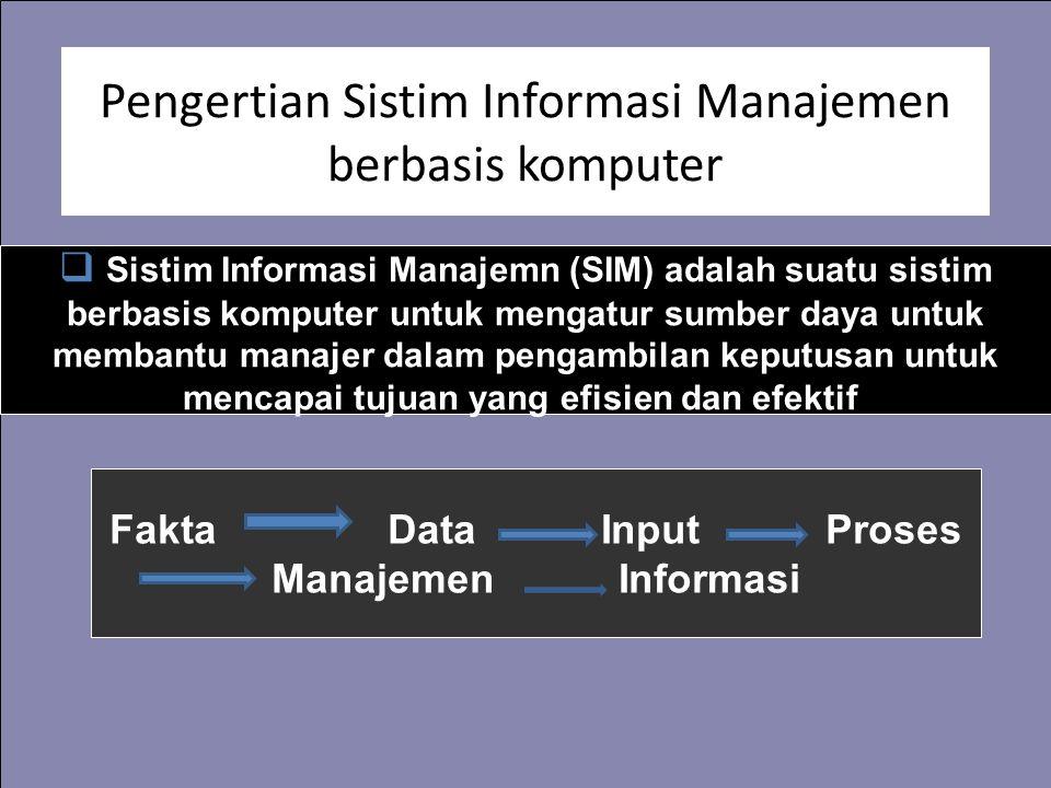 Pengertian Sistim Informasi Manajemen berbasis komputer  Sistim Informasi Manajemn (SIM) adalah suatu sistim berbasis komputer untuk mengatur sumber