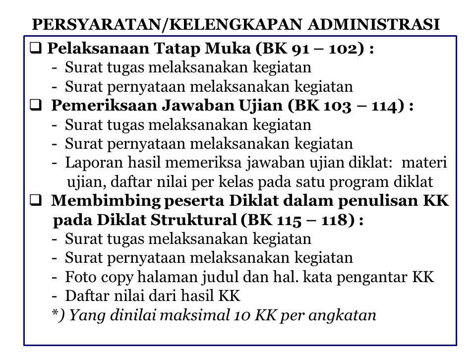 PERSYARATAN/KELENGKAPAN ADMINISTRASI  Pelaksanaan Tatap Muka (BK 91 – 102) : - Surat tugas melaksanakan kegiatan - Surat pernyataan melaksanakan kegi