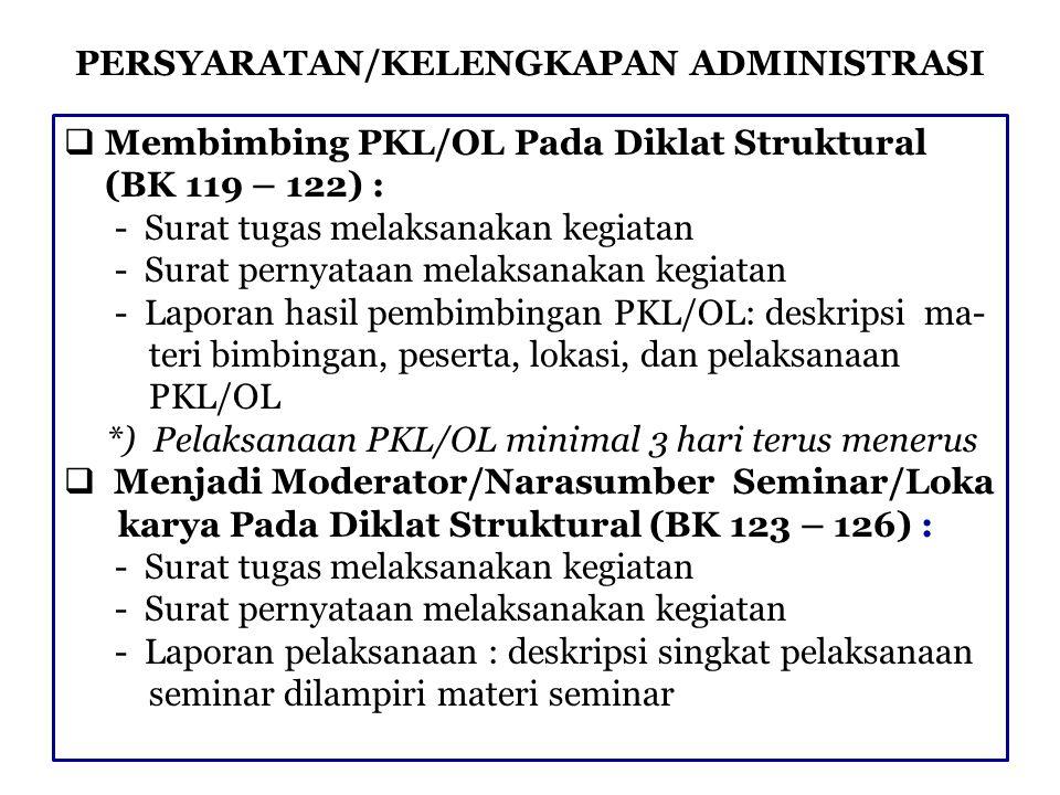 PERSYARATAN/KELENGKAPAN ADMINISTRASI  Membimbing PKL/OL Pada Diklat Struktural (BK 119 – 122) : - Surat tugas melaksanakan kegiatan - Surat pernyataa