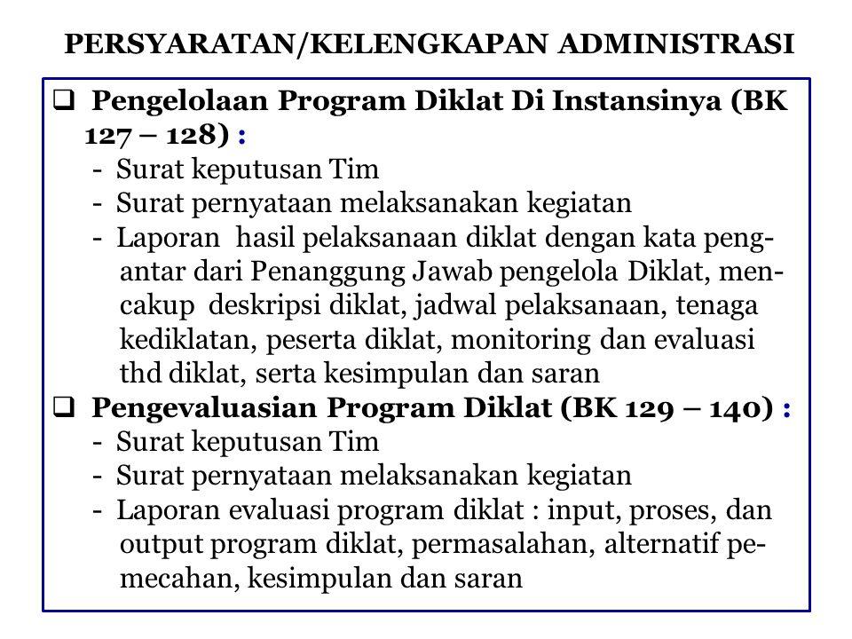PERSYARATAN/KELENGKAPAN ADMINISTRASI  Pengelolaan Program Diklat Di Instansinya (BK 127 – 128) : - Surat keputusan Tim - Surat pernyataan melaksanaka