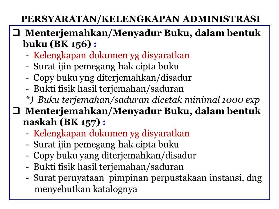 PERSYARATAN/KELENGKAPAN ADMINISTRASI  Menterjemahkan/Menyadur Buku, dalam bentuk buku (BK 156) : - Kelengkapan dokumen yg disyaratkan - Surat ijin pe