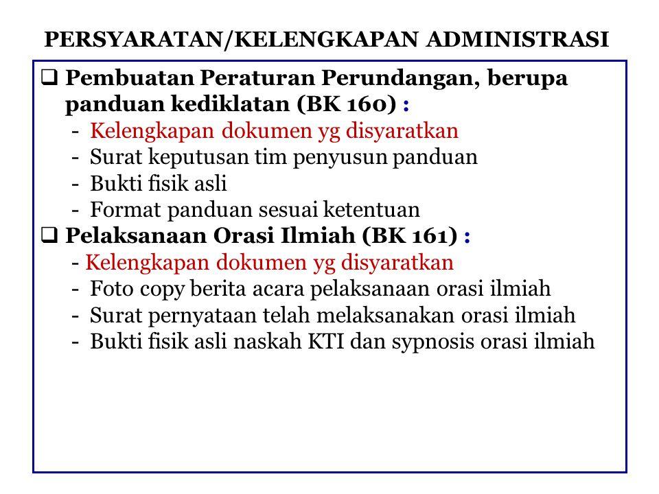 PERSYARATAN/KELENGKAPAN ADMINISTRASI  Pembuatan Peraturan Perundangan, berupa panduan kediklatan (BK 160) : - Kelengkapan dokumen yg disyaratkan - Su