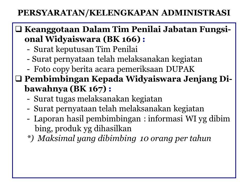 PERSYARATAN/KELENGKAPAN ADMINISTRASI  Keanggotaan Dalam Tim Penilai Jabatan Fungsi- onal Widyaiswara (BK 166) : - Surat keputusan Tim Penilai - Surat