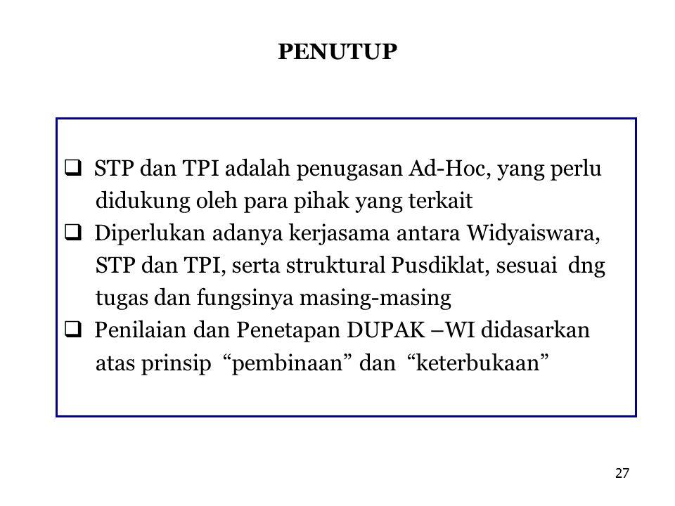 PENUTUP  STP dan TPI adalah penugasan Ad-Hoc, yang perlu didukung oleh para pihak yang terkait  Diperlukan adanya kerjasama antara Widyaiswara, STP