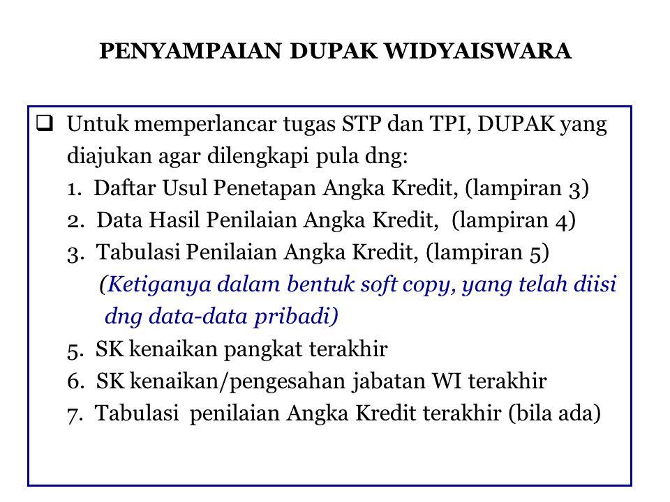 PENYAMPAIAN DUPAK WIDYAISWARA  Untuk memperlancar tugas STP dan TPI, DUPAK yang diajukan agar dilengkapi pula dng: 1. Daftar Usul Penetapan Angka Kre