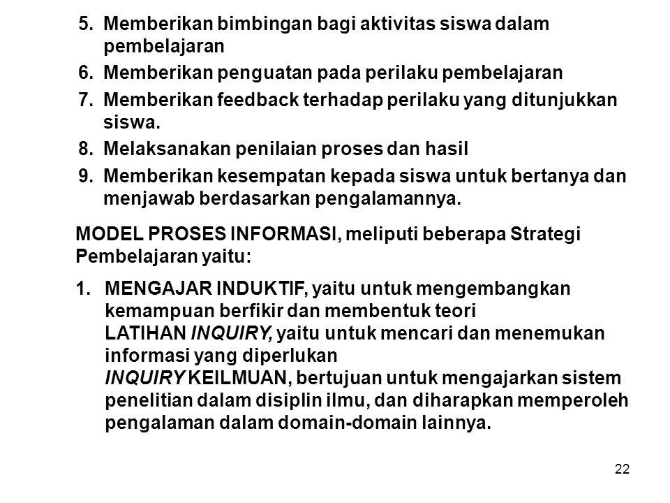 22 MODEL PROSES INFORMASI, meliputi beberapa Strategi Pembelajaran yaitu: 5.Memberikan bimbingan bagi aktivitas siswa dalam pembelajaran 6.Memberikan