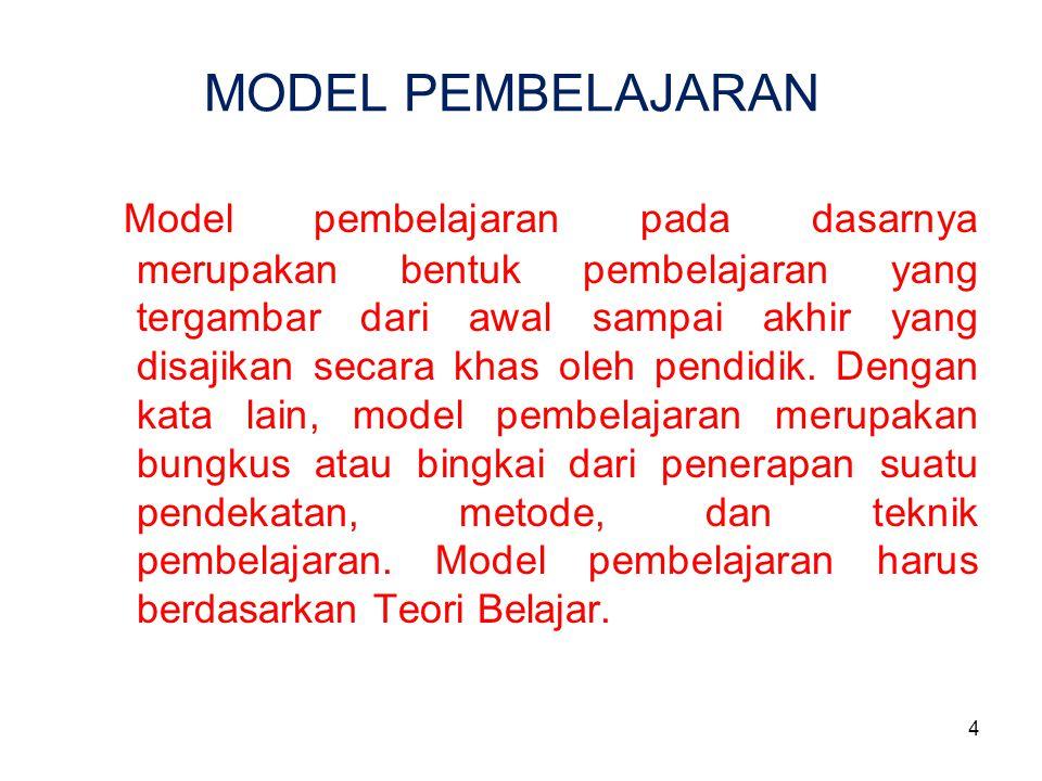 4 MODEL PEMBELAJARAN Model pembelajaran pada dasarnya merupakan bentuk pembelajaran yang tergambar dari awal sampai akhir yang disajikan secara khas o
