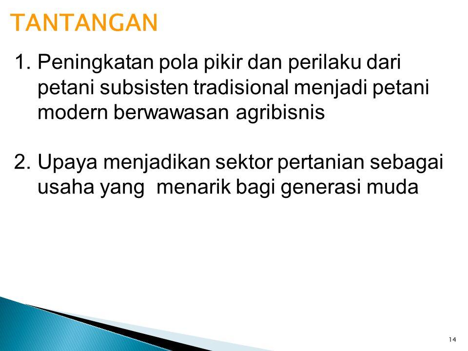 14 TANTANGAN 1.Peningkatan pola pikir dan perilaku dari petani subsisten tradisional menjadi petani modern berwawasan agribisnis 2.Upaya menjadikan se