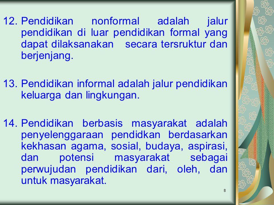8 12.Pendidikan nonformal adalah jalur pendidikan di luar pendidikan formal yang dapat dilaksanakan secara tersruktur dan berjenjang.