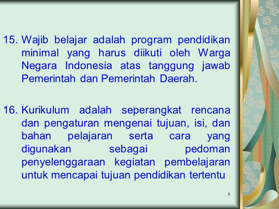 9 15.Wajib belajar adalah program pendidikan minimal yang harus diikuti oleh Warga Negara Indonesia atas tanggung jawab Pemerintah dan Pemerintah Daer