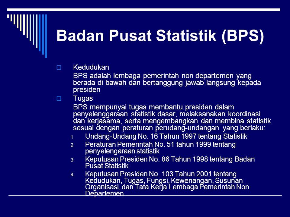 Badan Pusat Statistik (BPS)  Kedudukan BPS adalah lembaga pemerintah non departemen yang berada di bawah dan bertanggung jawab langsung kepada presid