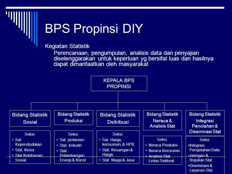 BPS Propinsi DIY Kegiatan Statistik Perencanaan, pengumpulan, analisis data dan penyajian diselenggarakan untuk keperluan yg bersifat luas dan hasilny