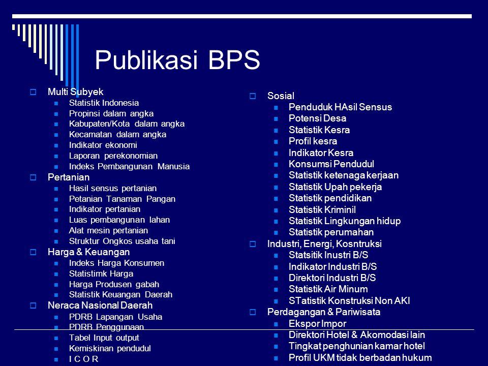 Publikasi BPS  Multi Subyek Statistik Indonesia Propinsi dalam angka Kabupaten/Kota dalam angka Kecamatan dalam angka Indikator ekonomi Laporan perek
