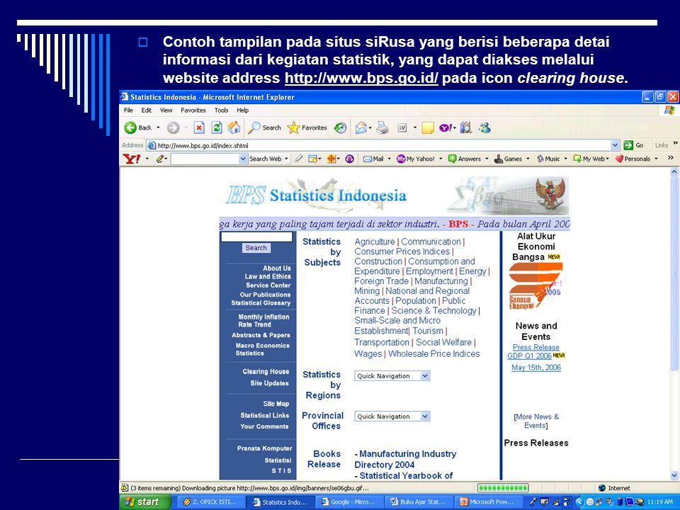  Contoh tampilan pada situs siRusa yang berisi beberapa detai informasi dari kegiatan statistik, yang dapat diakses melalui website address http://ww