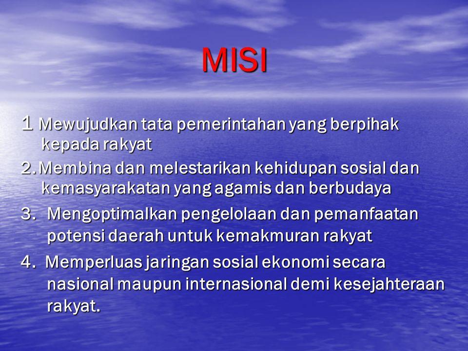 MISI 1 Mewujudkan tata pemerintahan yang berpihak kepada rakyat 2.Membina dan melestarikan kehidupan sosial dan kemasyarakatan yang agamis dan berbuda