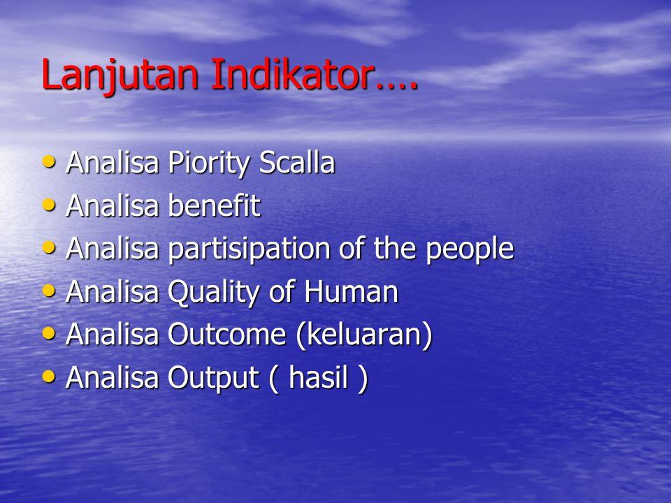 Lanjutan Indikator…. Analisa Piority Scalla Analisa Piority Scalla Analisa benefit Analisa benefit Analisa partisipation of the people Analisa partisi