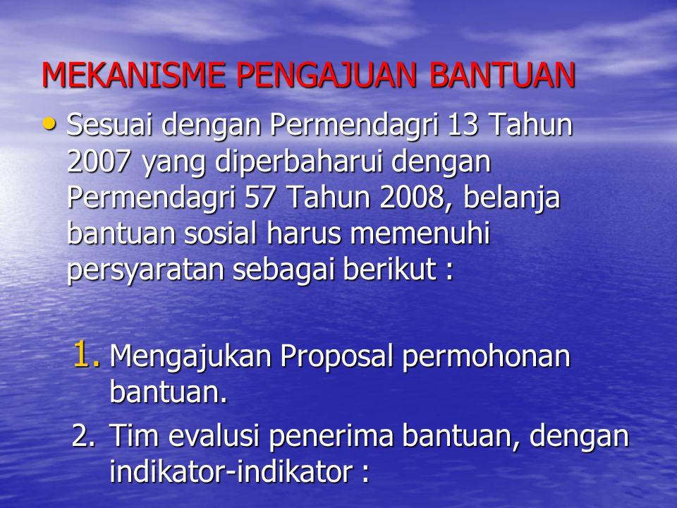 MEKANISME PENGAJUAN BANTUAN Sesuai dengan Permendagri 13 Tahun 2007 yang diperbaharui dengan Permendagri 57 Tahun 2008, belanja bantuan sosial harus m