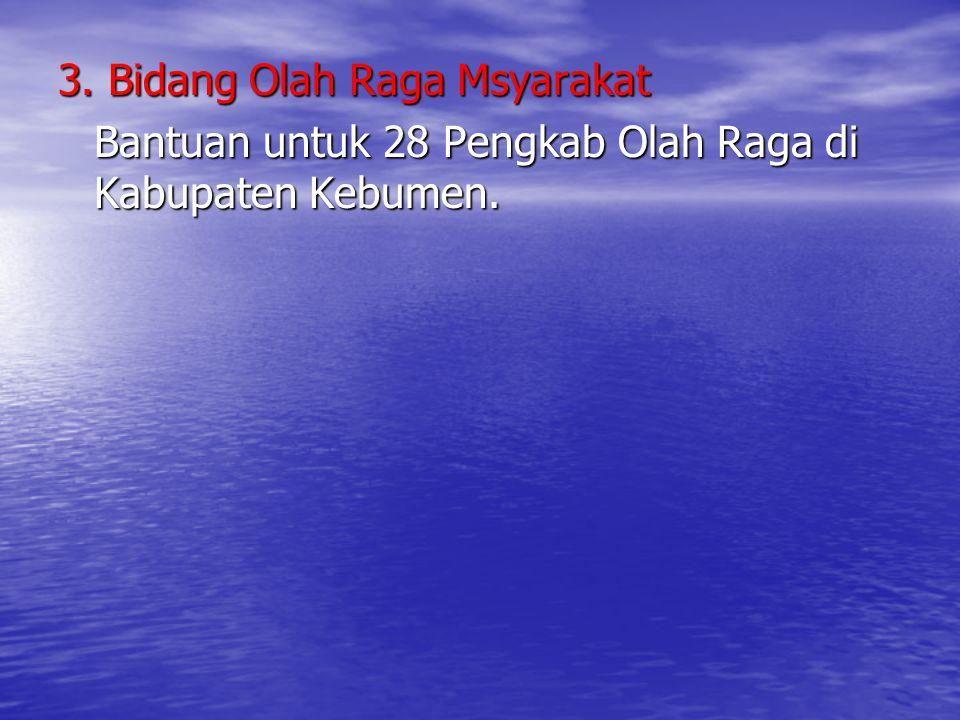 3. Bidang Olah Raga Msyarakat Bantuan untuk 28 Pengkab Olah Raga di Kabupaten Kebumen.