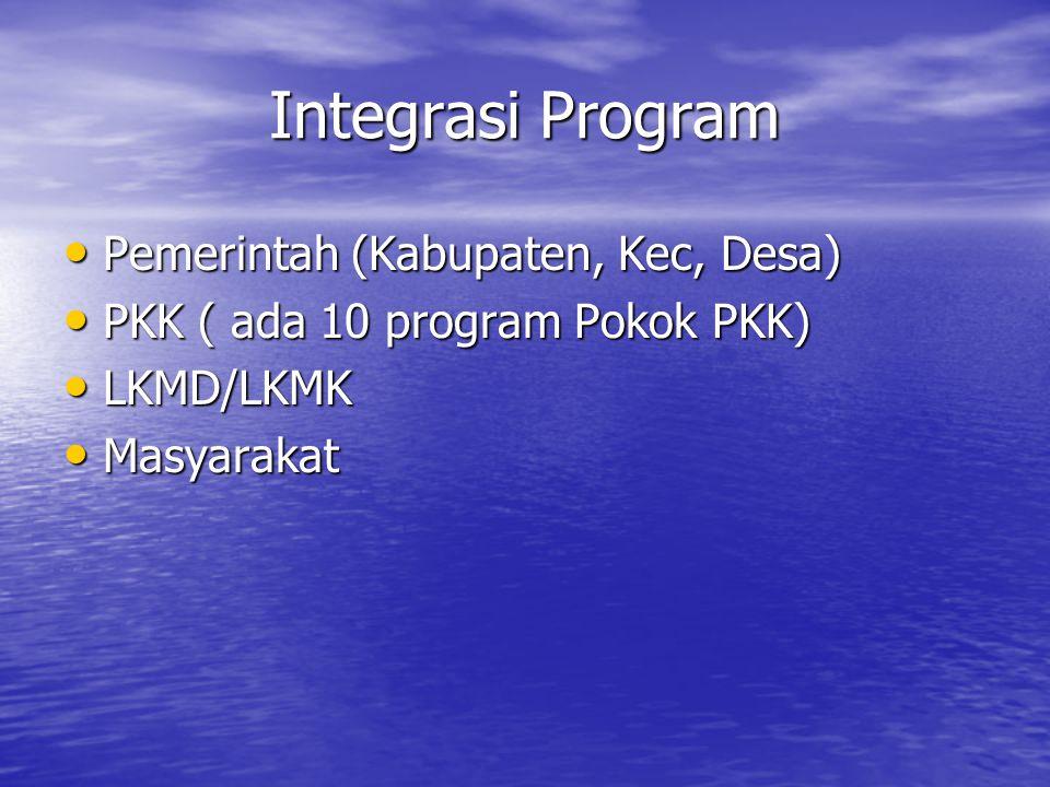 Integrasi Program Pemerintah (Kabupaten, Kec, Desa) Pemerintah (Kabupaten, Kec, Desa) PKK ( ada 10 program Pokok PKK) PKK ( ada 10 program Pokok PKK)