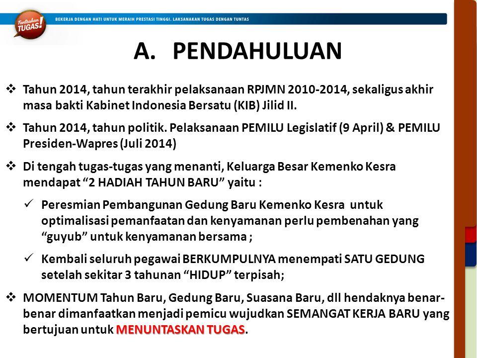 A.PENDAHULUAN  Tahun 2014, tahun terakhir pelaksanaan RPJMN 2010-2014, sekaligus akhir masa bakti Kabinet Indonesia Bersatu (KIB) Jilid II.  Tahun 2