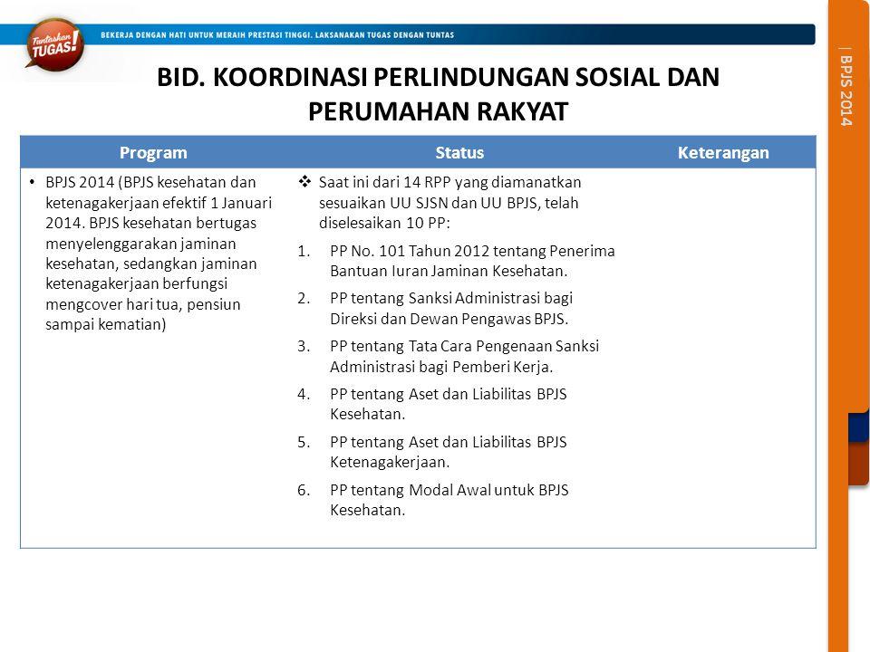 | BPJS 2014 BID. KOORDINASI PERLINDUNGAN SOSIAL DAN PERUMAHAN RAKYAT ProgramStatusKeterangan BPJS 2014 (BPJS kesehatan dan ketenagakerjaan efektif 1 J