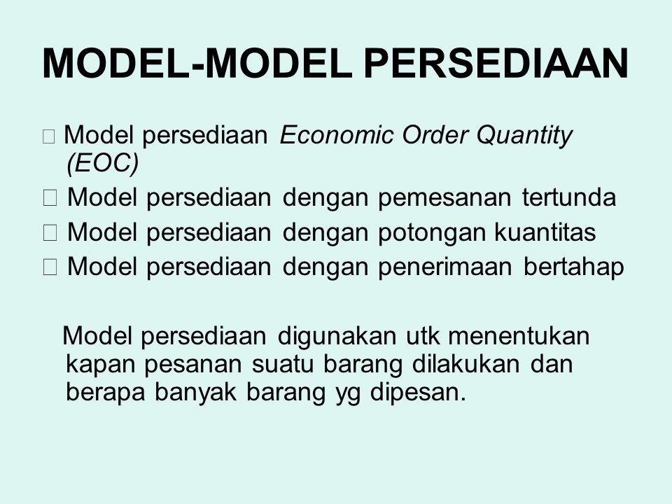 MODEL-MODEL PERSEDIAAN  Model persediaan Economic Order Quantity (EOC)  Model persediaan dengan pemesanan tertunda  Model persediaan dengan potonga