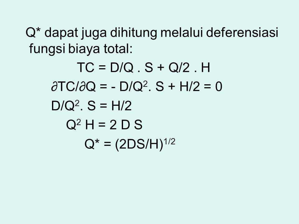 Q* dapat juga dihitung melalui deferensiasi fungsi biaya total: TC = D/Q. S + Q/2. H ∂ TC/ ∂ Q = - D/Q 2. S + H/2 = 0 D/Q 2. S = H/2 Q 2 H = 2 D S Q*