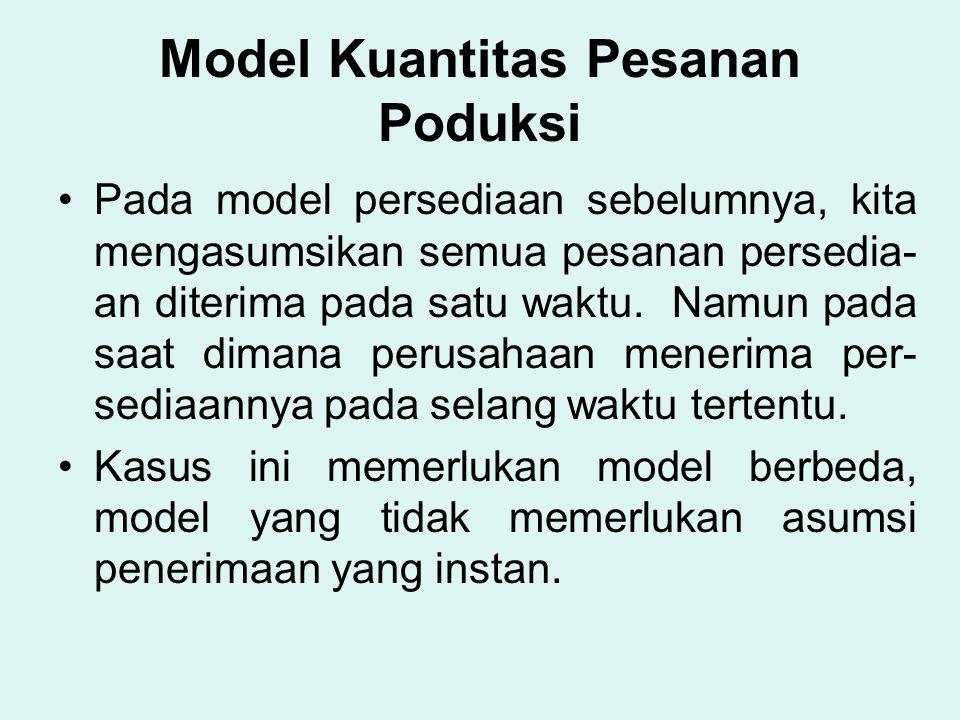 Model Kuantitas Pesanan Poduksi Pada model persediaan sebelumnya, kita mengasumsikan semua pesanan persedia- an diterima pada satu waktu. Namun pada s