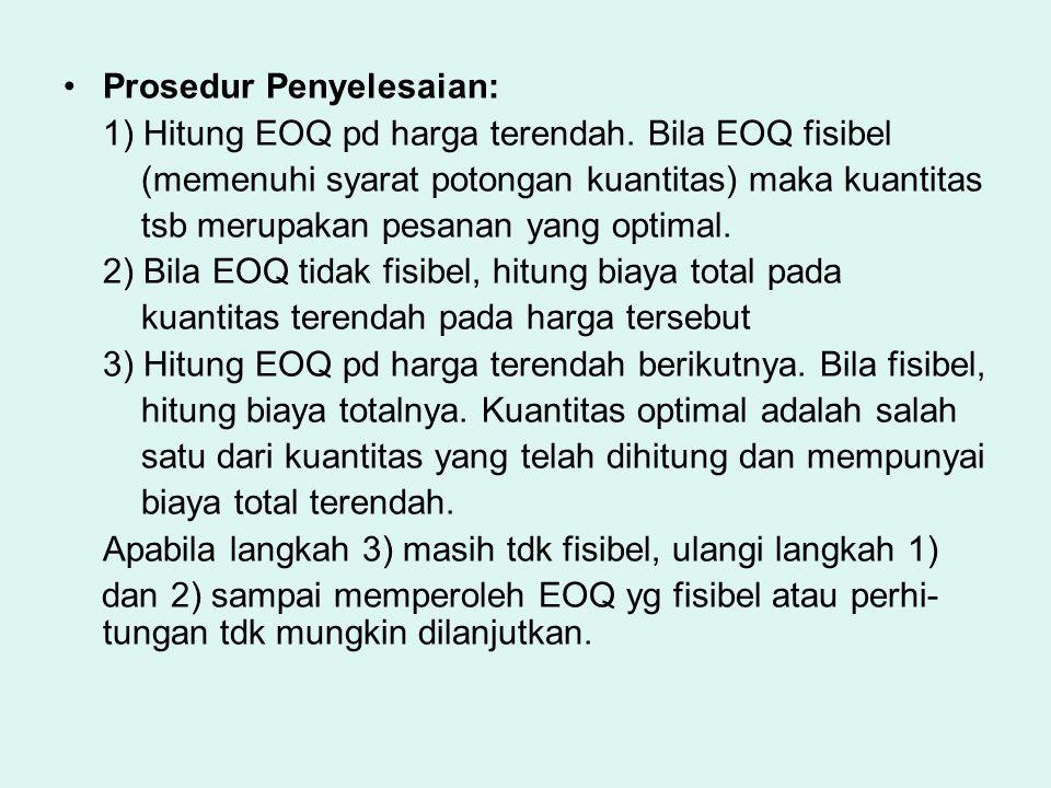 Prosedur Penyelesaian: 1) Hitung EOQ pd harga terendah. Bila EOQ fisibel (memenuhi syarat potongan kuantitas) maka kuantitas tsb merupakan pesanan yan