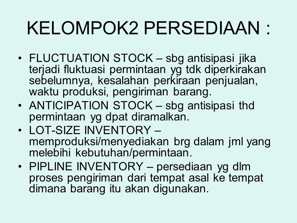 KELOMPOK2 PERSEDIAAN : FLUCTUATION STOCK – sbg antisipasi jika terjadi fluktuasi permintaan yg tdk diperkirakan sebelumnya, kesalahan perkiraan penjua
