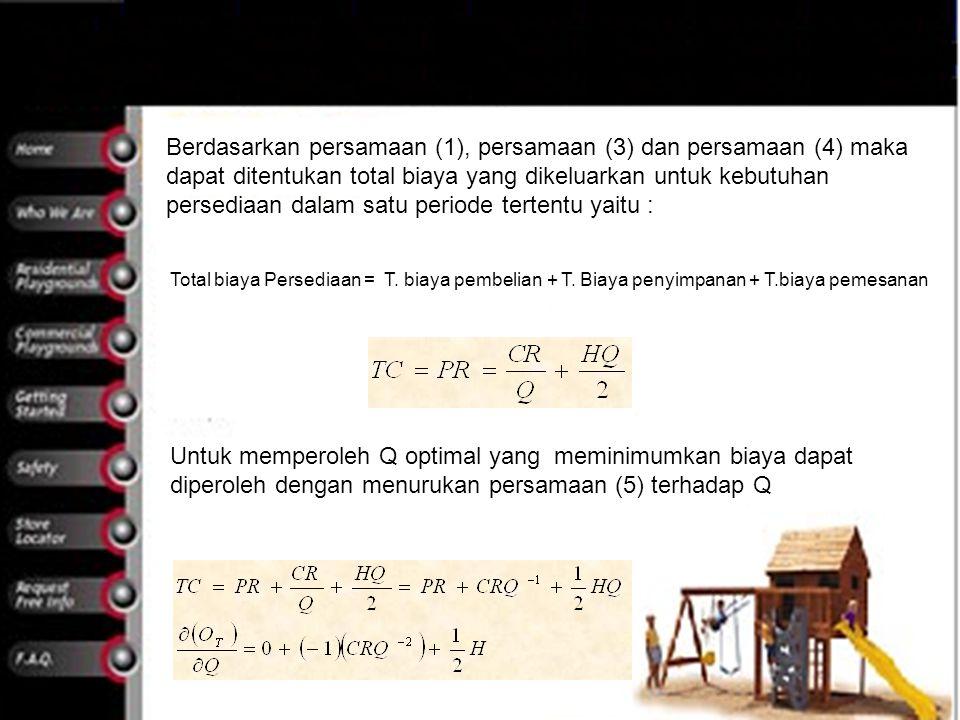 Berdasarkan persamaan (1), persamaan (3) dan persamaan (4) maka dapat ditentukan total biaya yang dikeluarkan untuk kebutuhan persediaan dalam satu pe