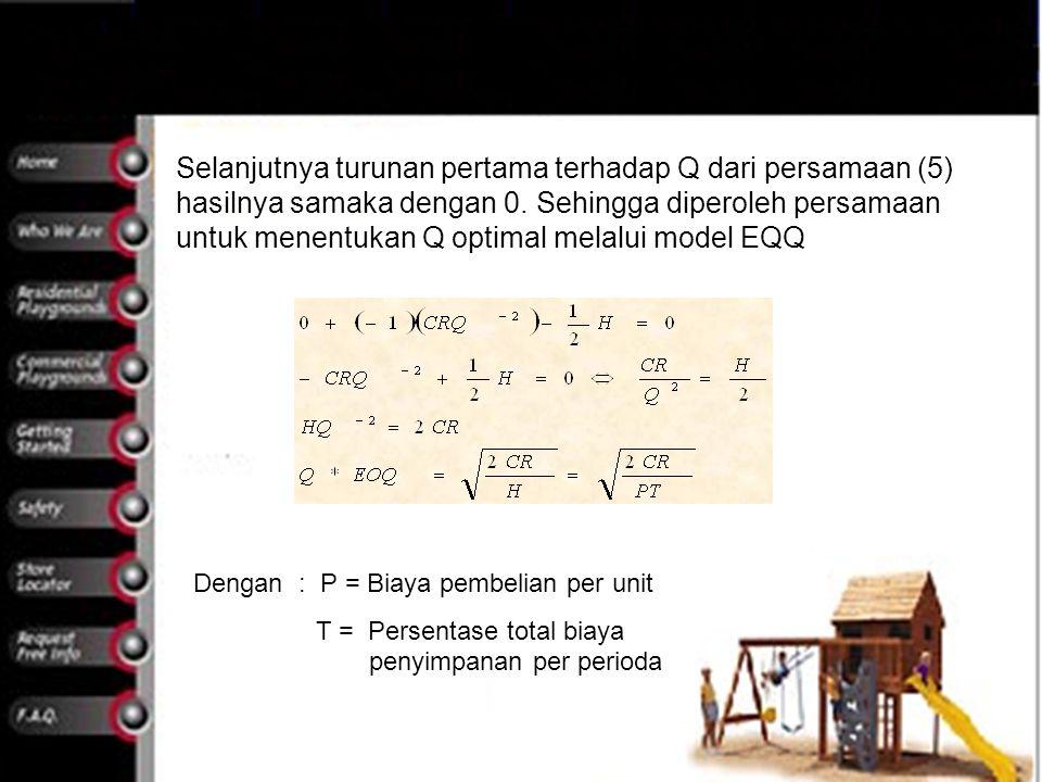 Selanjutnya turunan pertama terhadap Q dari persamaan (5) hasilnya samaka dengan 0. Sehingga diperoleh persamaan untuk menentukan Q optimal melalui mo