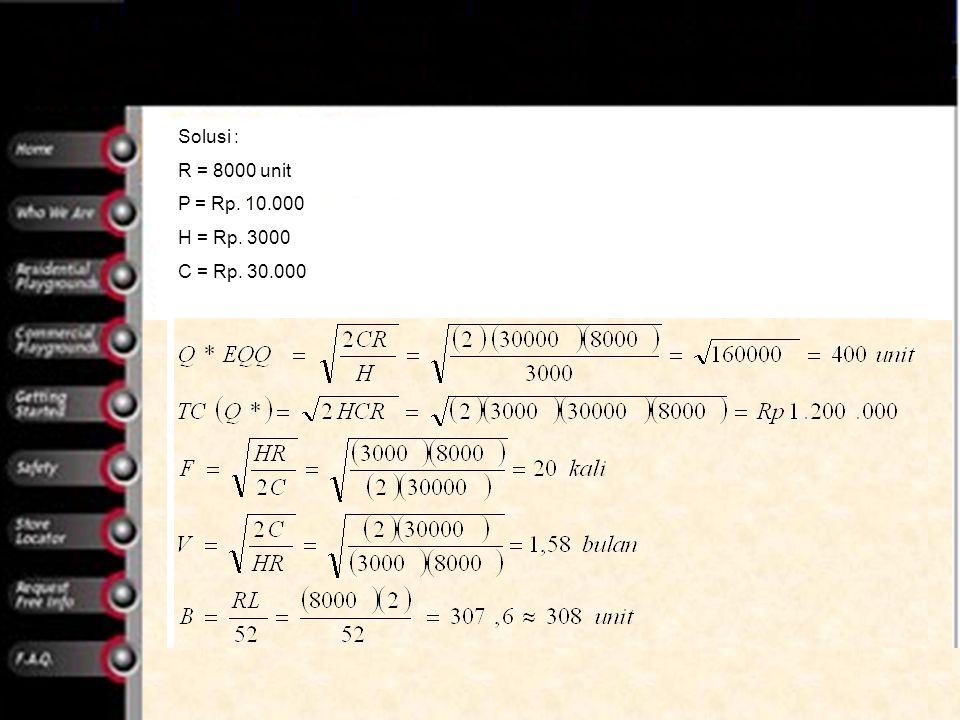Solusi : R = 8000 unit P = Rp. 10.000 H = Rp. 3000 C = Rp. 30.000