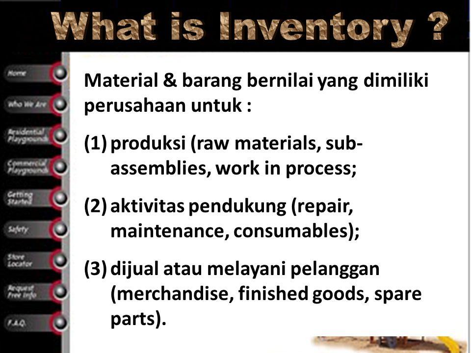 Material & barang bernilai yang dimiliki perusahaan untuk : (1)produksi (raw materials, sub- assemblies, work in process; (2)aktivitas pendukung (repa