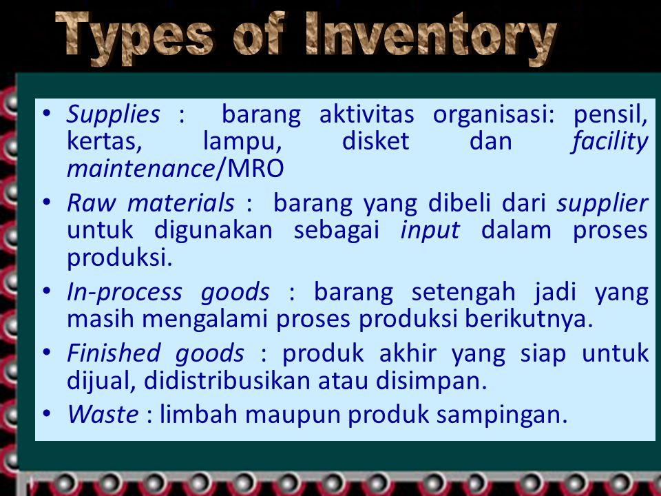 Supplies : barang aktivitas organisasi: pensil, kertas, lampu, disket dan facility maintenance/MRO Raw materials : barang yang dibeli dari supplier un